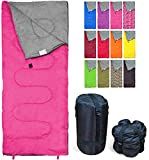 REVALCAMP Lightweight Pink Sleeping Bag Indoor & Outdoor use. Great for Kids, Youth & Adults....