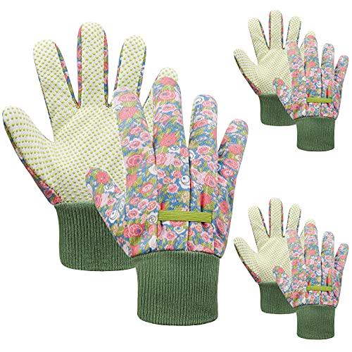 JIERTOP 3 pares de guantes de jardinería para niños de 3 a 6 años, 6 a 9 años, 10 a 15 años, guantes de trabajo para jardinería y tareas domésticas, multicolor