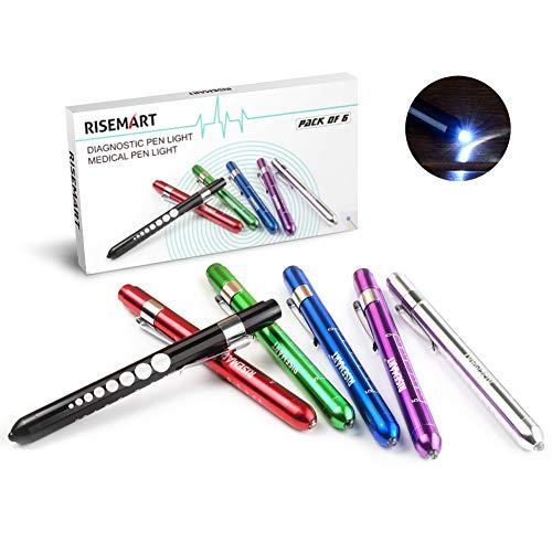 RISEMART 6 Stück Diagnostikleuchte Pupillenleuchte Wiederverwendbare LED Stiftlampe mit Taschenclip alsr Krankenschwestern Ärzte Schüler Stiftlicht
