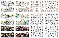 30個/セットバタフライネイルデカールとステッカーカラフルなホイルの大きな水デカールマニキュアネイルアート装飾 (Color : BN1093)