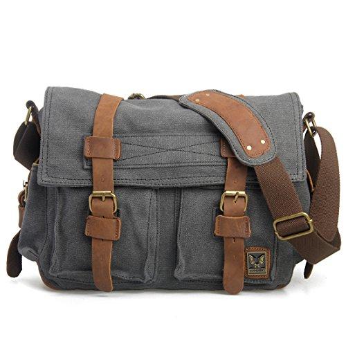 Estarer Tracolla borsa messenger Uomini / Donne di tela di Scuola Uni Lavoro Viaggi Grigio scuro