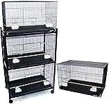 Brand New Lot of Four Aviary Breeding Bird Cage 30x18x18/Stand - BLACK
