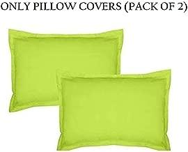 Home Ecstasy 100% Cotton Pillow Covers Set of 2 Cotton, 220tc Plain Green Cotton Pillow Covers 18 x 27 Set of 2 Cotton Pillowcase