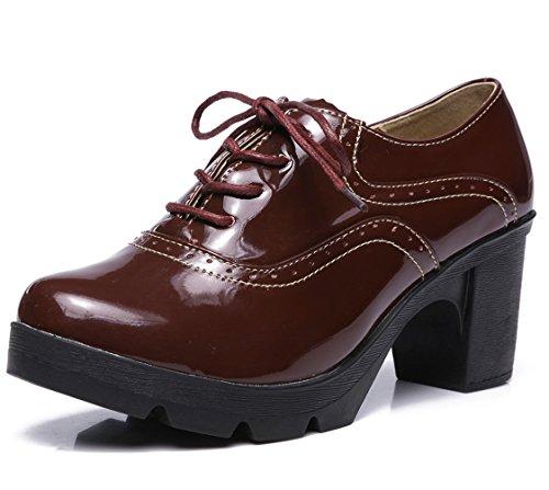 Sapatos femininos DADAWEN clássicos com tira em T, plataforma de salto médio, bico quadrado, Oxford, Red(lace Up), 8