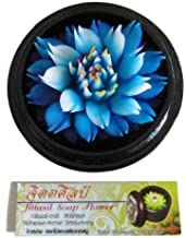 Jittasil Thai Hand-Carved Soap Flower, 4 Inch Scented Carving Gift-Set, Blue Lotus In Decorative Wood Case