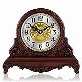 SXZHDZ Orologio da Tavolo Orologio da caminetto Solido Legno Nonno Orologio Vivente, Europeo Retro Muto Orologio 34.2 x 29.2 x 12,2cm