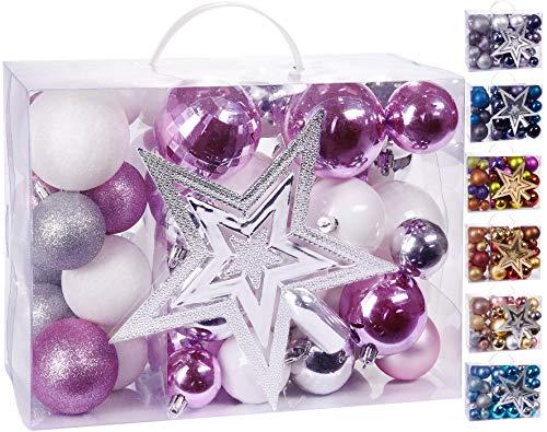 Brubaker Set di 50 Pezzi Palline di Natale con Cima d'albero - Decorazioni per L'Albero di Natale in Rosa, Bianco e Argento