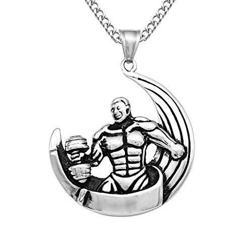 FITYLE Collar De Acero Inoxidable Que Lucha Los Hombres Fuertes del Músculo Colgante Encantos De La Aptitud - Patrón Fitness