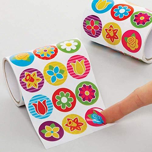 Baker Ross AX869 Blumen Aufkleber Rolle - 600 Stück, Vorteilspackung Sticker Bastelbedarf für Kinder zum Basteln und Dekorieren