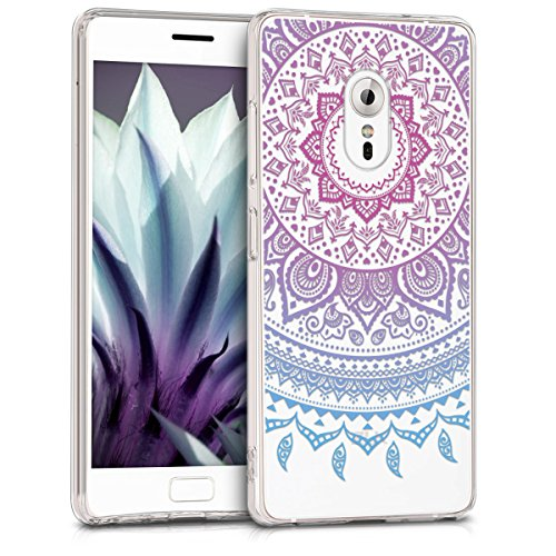 kwmobile Hülle kompatibel mit Lenovo ZUK Z2 Pro - Hülle Handy - Handyhülle - Indische Sonne Blau Pink Transparent