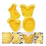 KIDDYBO Lot de 4 emporte pièces avec poussoir Thème Pâques pâtisserie Lapin oeuf papillon poussin (jaune)