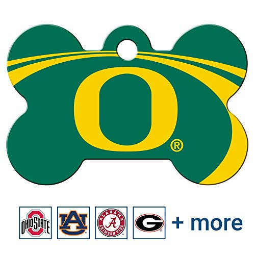 GoTags Oregon Ducks NCAA Personalized Engraved Sports Team Dog Tags, Bone Shape Pet ID Tags