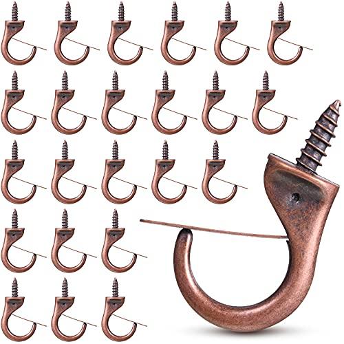 24 Ganchos de Metal de Tazas Ganchos de Seguridad a Prueba de Viento Ganchos de Techo de Metal Ganchos para Tornillos de Techo para Colgar Plantas Uso, 1,9 x 1,4 Pulgadas (Bronce)