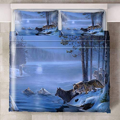 CQIIKJ Juego de Cama Impreso en 3D,Gris Azul Caqui Selva río Animales Lobo Funda de edredón de Microfibra con Cierre de Cremallera, 2 Fundas de Almohada240x220cm