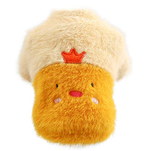 STM32 by ST Pet Dogs and Cats in Autumn and Winter, Furry Teddy Warm Two-Legged Crew Neck Shirt-Furry Round Neck Shirt-Crown Chicken||M-About 7-8 kg
