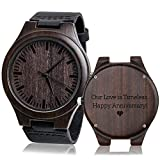 Men's Watch Wood Unique Wedding Anniversary Gifts for Men Our Love is Timeless. Happy Anniversary!