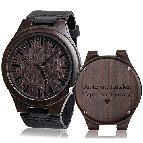 Engraved Mens Vintage Analog Quartz Wooden Wrist Watches are unique 4th anniversary gift ideas for him