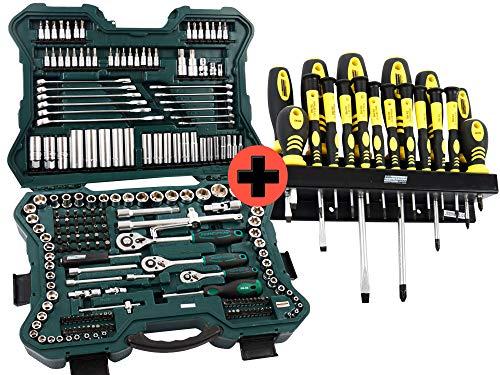 Mannesmann - Juego de llaves de vaso y puntas con maletín de herramientas (215 piezas, incluye juego de destornilladores Mannesmann con puntas magnéticas y soporte de pared, 18 piezas)