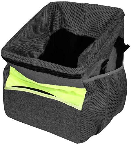 GreeSuit Fahrradtasche für Hunde und Katzen, mit verstellbarem gepolstertem Schultergurt, Haustier-Hunde-Fahrradtragetasche, Reise-Einkaufstaschen für alle Fahrräder, Schwarz