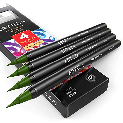 Arteza Real Brush Pens (A146 Olive Green), Pack of 4, for Watercolor Painting with Flexible Nylon Brush Tips, Paint Markers for Coloring, Calligraphy and Drawing