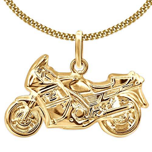 CLEVER SCHMUCK Set Goldener Anhänger Motorrad 23 x 13 mm plastisch geformt 333 Gold 8 Karat und vergoldete Kette Panzer 45 cm