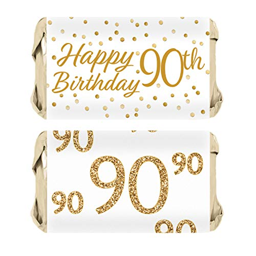 90th Birthday Party Miniatures Candy Bar Wrapper Stickers - White and Gold (54 Count)