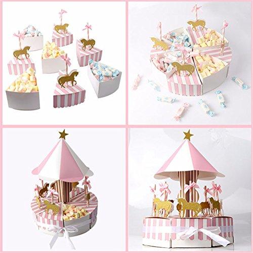 iBellete 8 Piezas Carrusel Caja de Dulces Favor de la Boda Souvenirs y Regalos para los Invitados a la Fiesta de Dulces de Regalo Caja de Dulces Decoraciones de la Boda