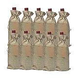 Wdbelm 10Pcs Sacs De Vin De Jute, 15X35Cm Sacs-Cadeaux De Bouteille De Vin De Hesse avec Cordon pour DéGustation De Vin Aveugle Convient pour Les Collations De Vin Sacs-Cadeaux De Sucre