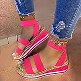 EVR Sandalias Mujer Verano Zapatos de Plataforma Mujer Cuña Zapatos de Boca de Pescado Playa Zapatillas Sandalias de Punta Abierta Casual Fiesta Roman Tacones Altos Chanclas,Rosado,37