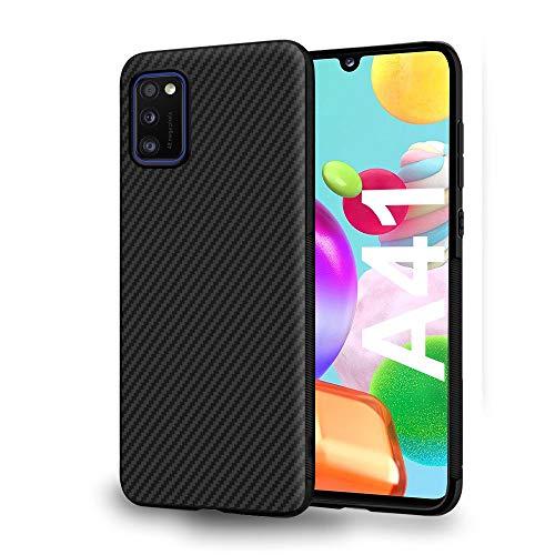 ebestStar - Funda Compatible con Samsung Galaxy A41 Carcasa Silicona Gel, Protección Diseño Fibra Carbono Premium Ultra Slim Case, Negro [A41: 149.9 x 69.8 x 7.9 mm, 6.1'']