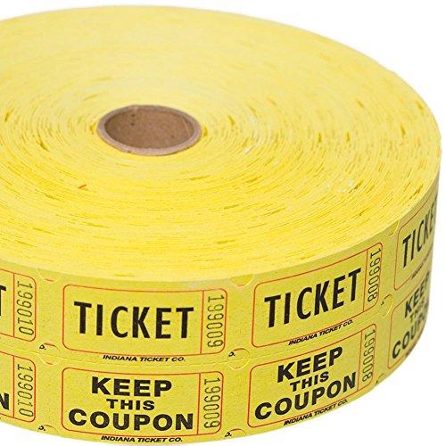 Yellow Double Raffle Ticket Roll (2000 tickets roll)