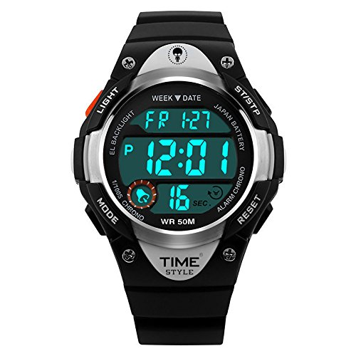 Time Style® Orologio digitale per bambini, design sportivo, per ragazze, ragazzi, 50 m WR, ora, data, retroilluminazione EL, suoneria oraria, cronometro, sveglia, orologio da polso nero