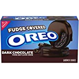 Oreo Dark Chocolate Fudge Covered Sandwich Cookies, Dark Chocolate Flavored Creme, 1 Pack (9oz.), 1Count