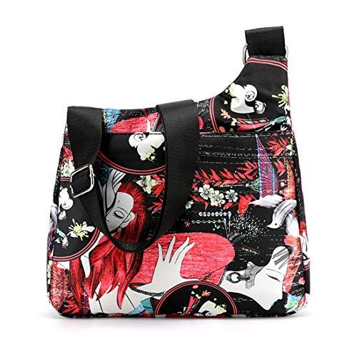 heavKin Women's Large Capacity Adjustable Shoulder Bag Lady Flower Ethnic Style Waterproof Nylon Messenger Pack Handbag (B, H: 28X L: 26X W:8CM)