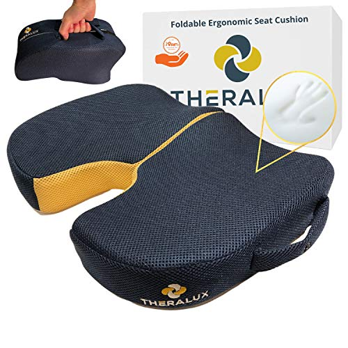 THERALUX Sciatica Pillow for Sitting Pain Relief - Memory Foam Car Seat Cushion for Office Desk Chair - Butt and Lower Back Support