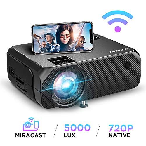 Lzpzz - Proyector de vídeo con WiFi, 5000 lux, proyector de pantalla inalámbrico, Full HD 1080p, compatible con pantalla de 300 pulgadas y HDMI USB VGA, para Android/iOS/portátil/PC