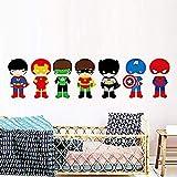 1 Set = 7 Pièce Super Héros Avec Masque Sticker Mural Cartoon Batman Art Sticker Mural Diy Papier Peint Pour Enfants Garçons Chambre Home Decor Affiche