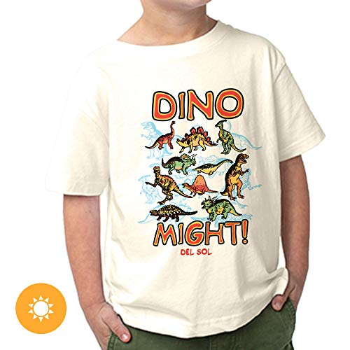 Del Sol Toddler Boys Crew Tee - Dino Might, Natural T-Shirt - Changes from Black to Vibrant Colors in The Sun - 100% Combed, Ring-Spun Cotton, Fine Jersey, Relaxed Fit - Size 3T