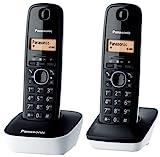 Panasonic KX-TG1612JTW Telefono Cordless DECT Doppio con Base Montabile a Parete, Rubrica da 50 voci, Nero/Bianco
