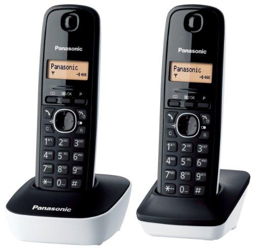 Panasonic KX-TG1612JTW Telefono Cordless DECT Doppio con Base Montabile a Parete, Rubrica da 50 voci, Nero Bianco