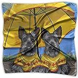 Merle House Cute Boston Terrier Twins Bufanda cuadrada estampada para mujer Tocado Cuello Satén Bufandas Abrigo Chal Pañuelo