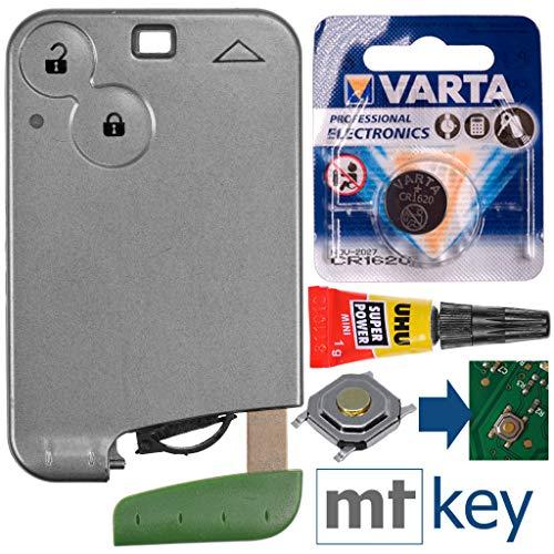 Kit de reparación Renault Kit de Llave para Auto Smartkey Control Remoto Estuche de reemplazo con 2 Botones + tecla de Emergencia Vacío + botón + batería para Renault Laguna 2 Espace 4
