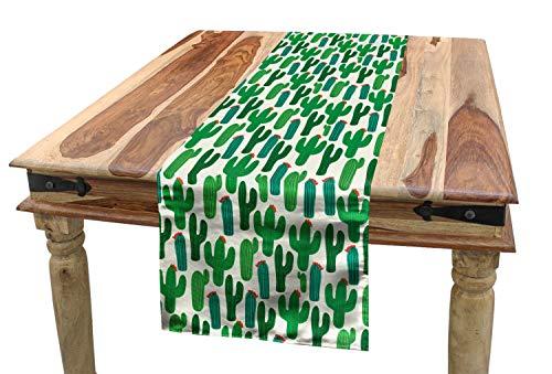 ABAKUHAUS Exotisch Tischläufer, San Pedro Kaktus mit Blumen, Esszimmer Küche Rechteckiger Dekorativer Tischläufer, 40 x 300 cm, Rot