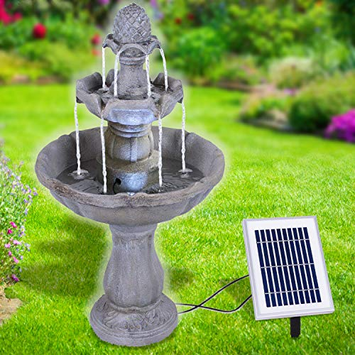 AMUR Solar Gartenbrunnen Brunnen Solarbrunnen Zierbrunnen Wasserfall Gartenleuchte Teichpumpe für Terrasse, Balkon, verbessertes Modell mit Pumpen-instant-Start-Funktion mit Liion-Akku & Led-Licht