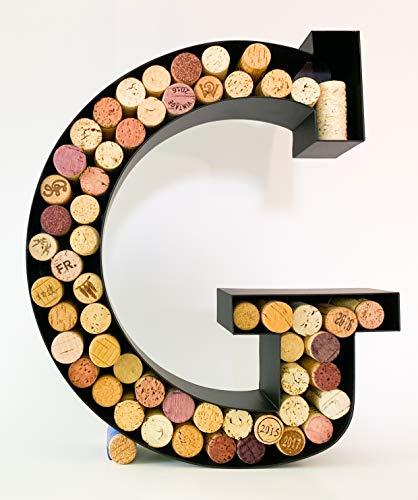 Wine Cork Holder - Metal Monogram Letter (A-Z) (Letter G)