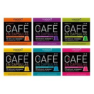 Viaggio Espresso Cápsulas de café compatibles con máquinas Nespresso Selección clásica (60 Cápsulas)