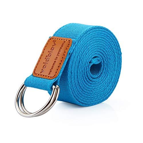 voidbiov Cotton Yoga Strap Pilate Belt, D-Ring Buckle Adjustable Strech Band,...