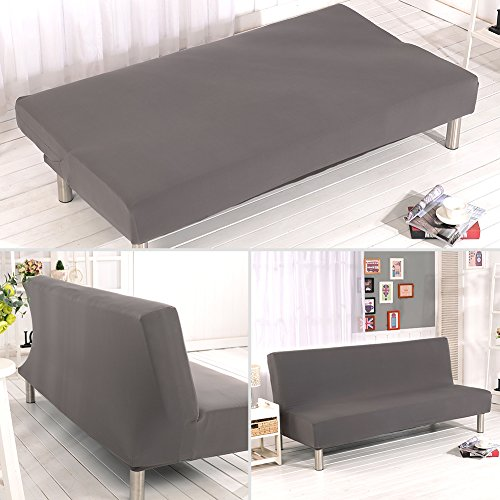 ele ELEOPTION Elastisch Sofa Überwurf Sofahusse Sofabezug für Schlafsofa Klappsofa faltbar Sofabett ohne armlehne Sessel und die Couch (Grau)