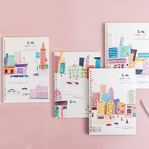 EFSDF Portátil Hoja de Cuaderno Patrón de Dibujos Animados Lindo, Bloc de Notas Espiral B5 Viaje Libreta Diarios para Escolar Escribir Professor, 4PCSB