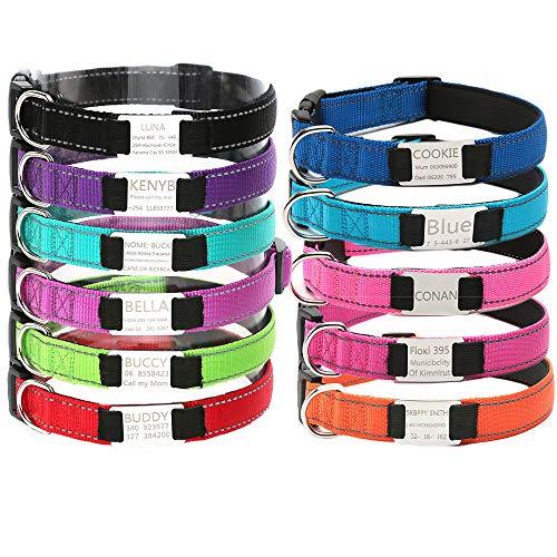 Oncpcare Collar de perro personalizado, collar reflectante grabado para mascotas con nombre número de teléfono, collares de identificación ajustables para gatos y cachorros